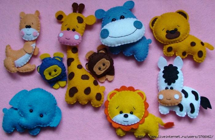 Животные игрушки из фетра