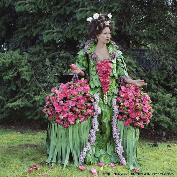 Поделки платья из цветов 14