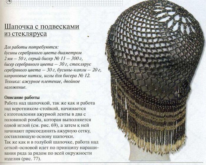 Схемы шапочки из бисера.