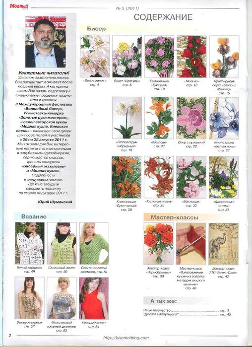 Модный журнал 5 2011 (Бисероплетение).  Бисерная флористика, идеи для декора интерьера: цветы, деревья...