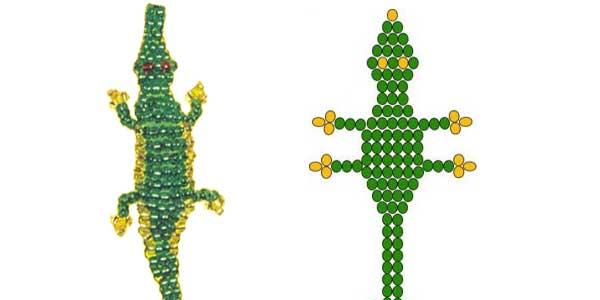 Как из бисера плести крокодила из бисера
