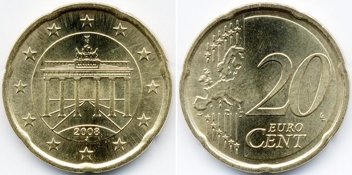 Монета 20 евро цент 2008 70 злотых