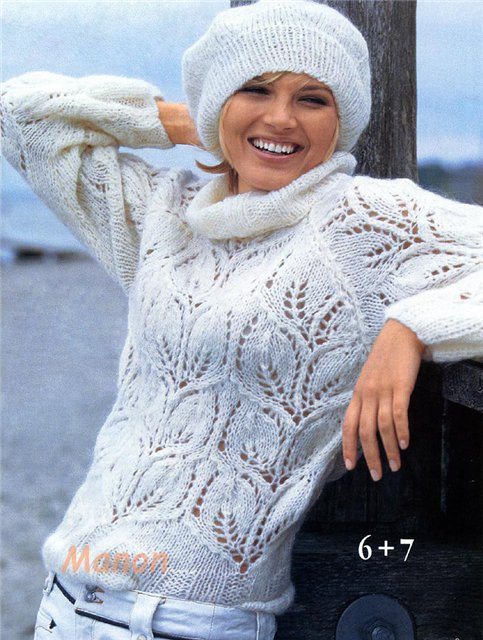 Не уверена, что такой ажурный узор сможет хорошо защищать в холода.  Впрочем, выполненый из мохера может.