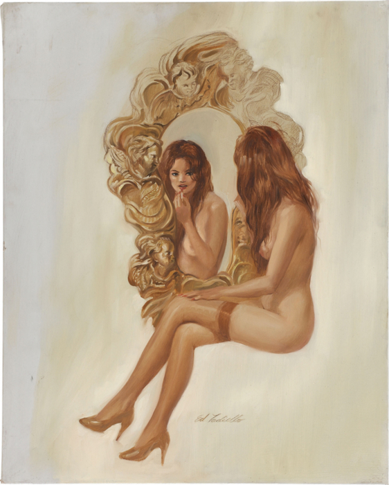 Pin-Up in Ornate Mirror (562x700, 351Kb)