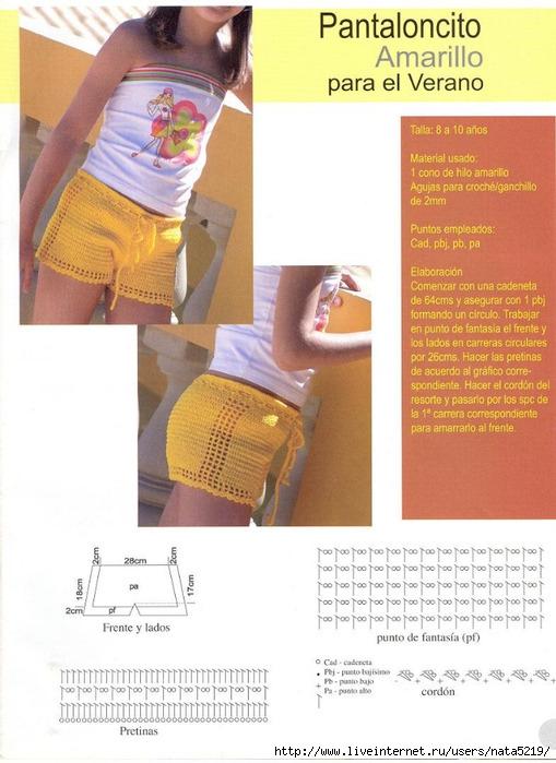 Вязанные шорты для девочек со схемой