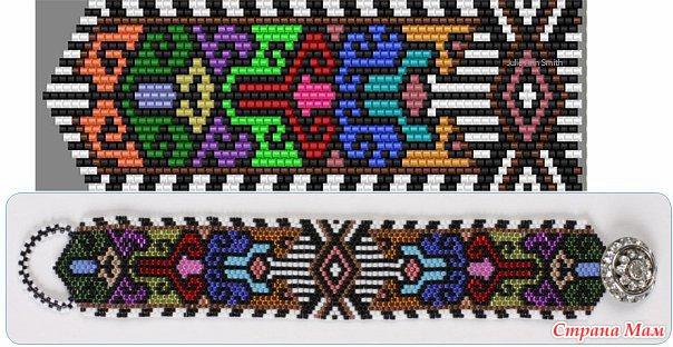 Схемы. бисер. белый. синий. жёлтый. браслет. чёрный. красный. плетение мозаичное.  10615 просмотра. anya3333.