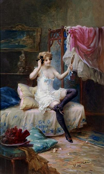 Hans Zatzka.The Looking Glass (420x700, 216Kb)