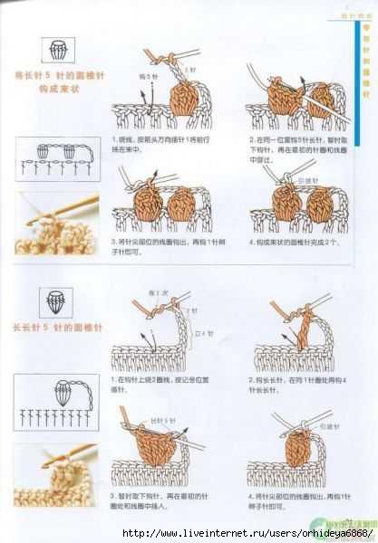Вязание крючком элемента попкорн 46