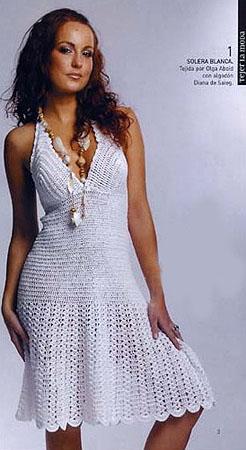 вязаное платье крючком схема.