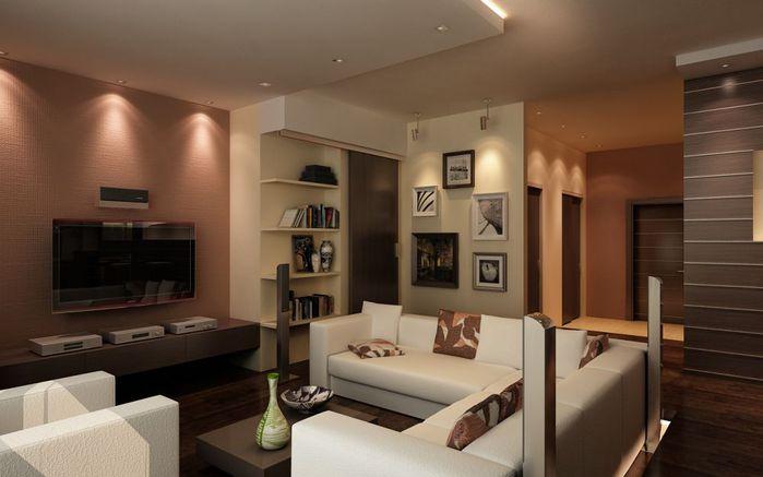 Интерьер гостиной с угловым диваном.