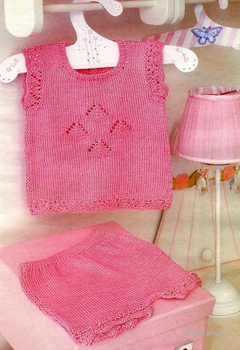 майка и шорты Вязание спицами.