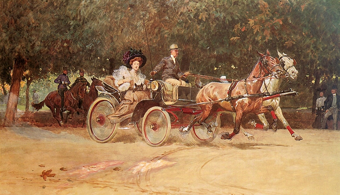 Ludwig Koch (Vienna 1866-1934)-Mrs-Sachers-Carriage-In-The-Hauptallee-Of-The-Prater-Vienna (700x401, 275Kb)