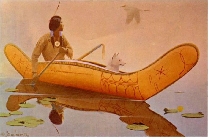 индеец на лодке