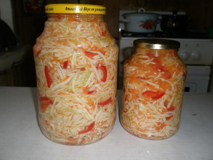 Салат из капусты на зиму с перцем с