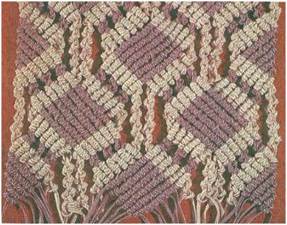 Орнаментальное плетение образуется из нитей двух цветов, по горизонтали...