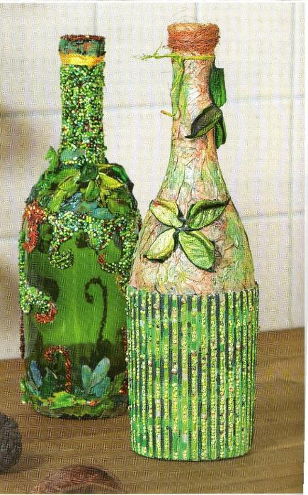бисером. бутылки