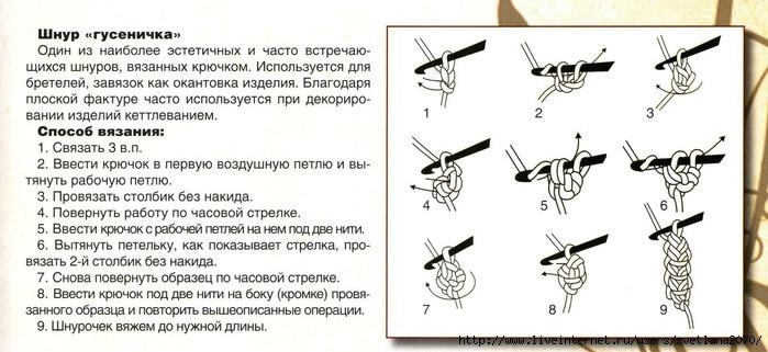 Вязание жемчужных шнуров крючком