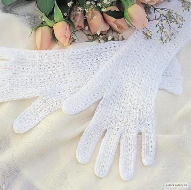 Часть 28.  Ажурные перчатки для невесты.