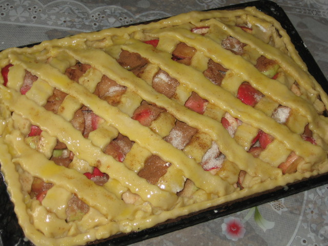 Пирог с яблоками в духовке на протвине