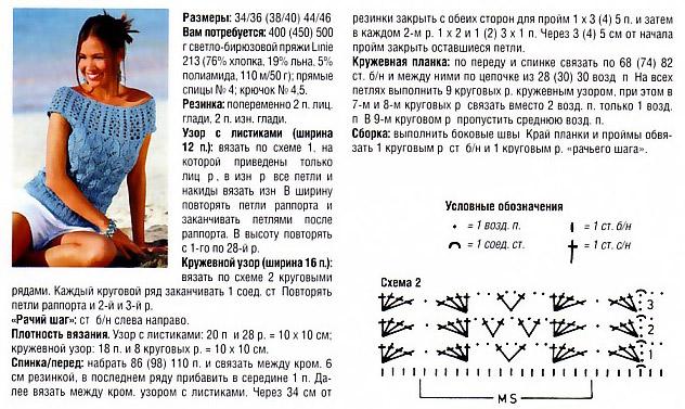 Рхема летней майки спицами.  Легкая майка-топ для вязания спицами.