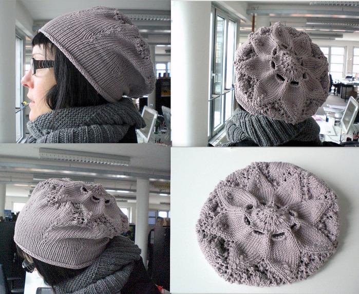 """针织:贝雷帽""""花杉花"""" - maomao - 我随心动"""