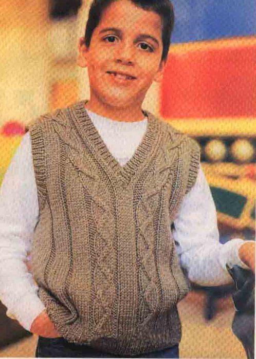 Синий жилет для мальчика. вязание. связать жакет для мальчика х лет на.