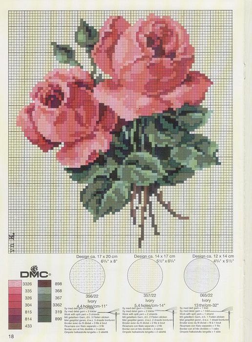 Роза . Вышивка крестом(схема)