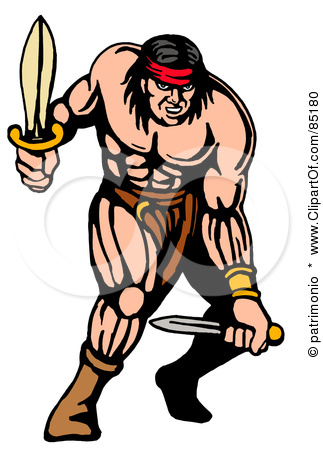 85180-Royalty-Free-RF-Clipart-Illustration-Of-A-Strong-Warrior-Fighting-With-Two-Daggers (323x450, 64Kb)