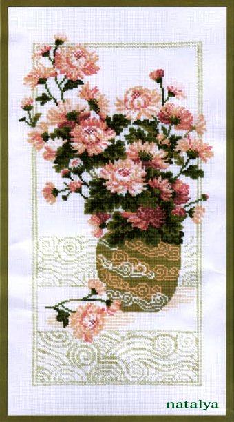 вышивка крестом бесплатные схемы Цветы в вазе.