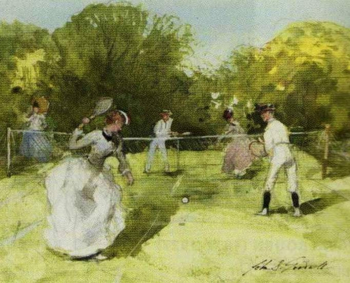 John Strickland Goodall (British artist, 1908–1996) A Game of Tennis (700x565, 316Kb)