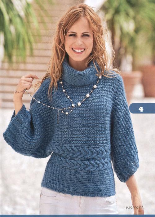 Пуловер кимоно на спицах Узоры для вязания пуловера.  Резинка 1х1, резинка 3х3.  Основной узор (четное кол-во петель)...