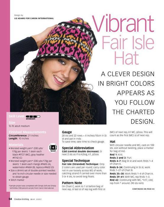 Free Knitting Pattern: Lady's and Girl's Fairisle Hat