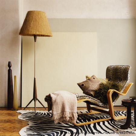 Можно сказать африканский дизайн интерьера.  Мотивы дикой природы...