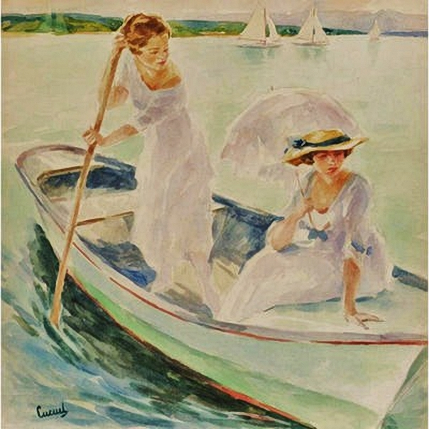 11_Edward_Cucuel_(American_artist,_1879-1954)_Boating_on_a_Sunday_Afternoon (604x604, 258Kb)