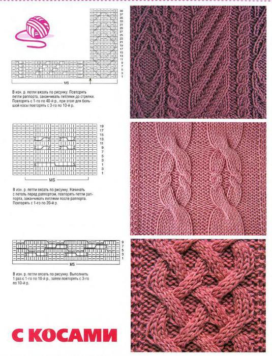 Схемы вязания кос на спицах 17