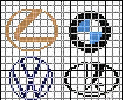 Брелки в машину. вышивка крестом. монохром (490x398, 182Kb)