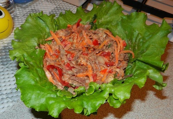 Салат и корейской моркови и мяса рецепт