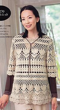 ...можно сказать, что это небольшое вязаное платье, а может быть и... Японское вязание кофты крючком схемы.
