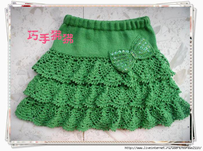 Детские юбки вязанные спицами