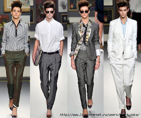 На фото мужской стиль в женской одежде на современных подиумах.
