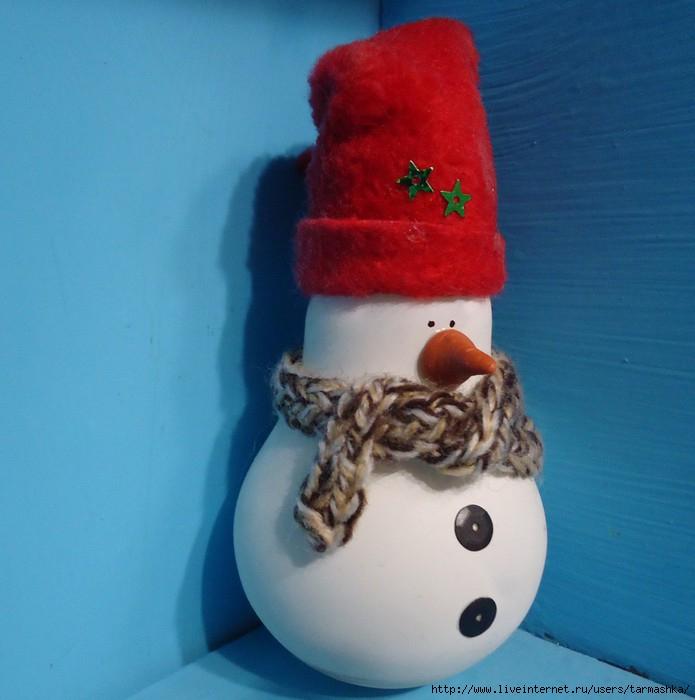 Снеговики из лампочек своими руками