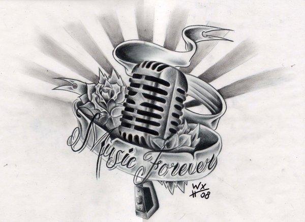 эскизы музыкальных татуировок: