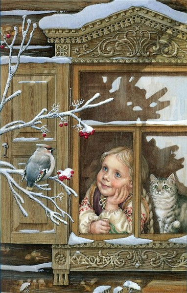 снегирь у окна (382x600, 96Kb)