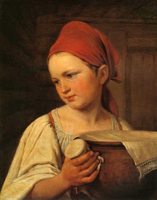 Девушка с крынкой молока,Веницианов (501x640, 44Kb)