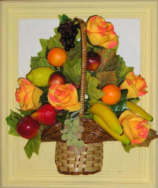Композиция из искусственных цветов и фруктов своими руками