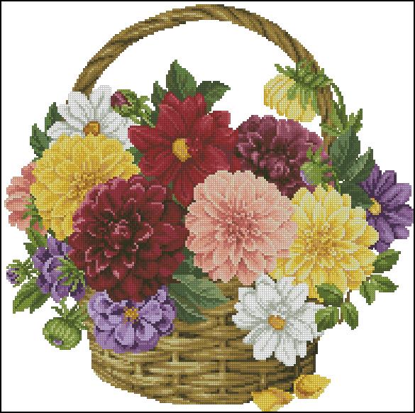 схемы вышивки цветов - Самое