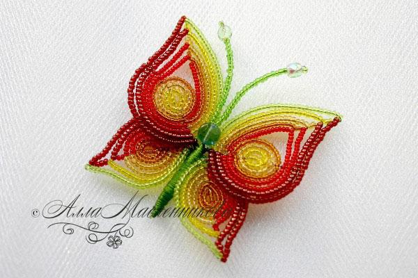 бабочка из бисера мастер класс фото.