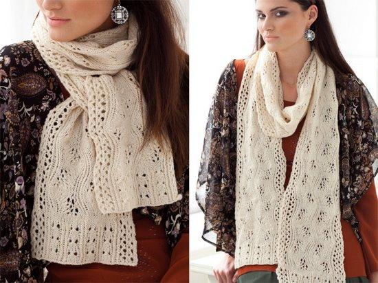 Ажурный шарф спицами Lace