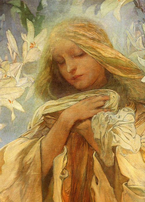 2382183_Alphonse_Mucha__Madonna_of_the_Lilies__detail (502x700, 345Kb)