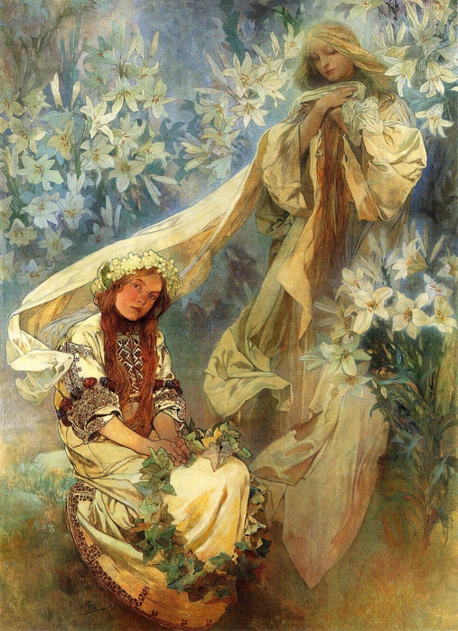 2382183_Alphonse_Mucha__Madonna_of_the_Lilies_1905 (507x700, 358Kb)